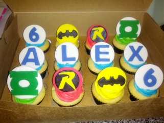 Vanilla Cupcakes with Superhero Fondant Decorations