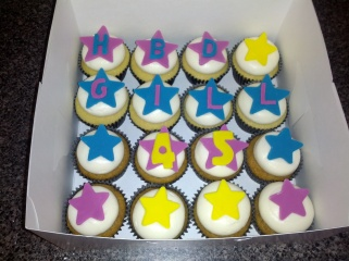 Vanilla Cupcakes with Birthday Fondant Decorations